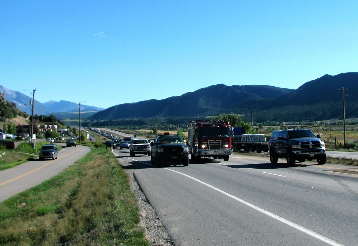 Traffic backed up for a little over an hour between 3:30 and about 4:45 p.m. Friday on Highway 82 at Cattle Creek. On-scene reports indicated a multi-car accident with at least one person transported to a hospital.