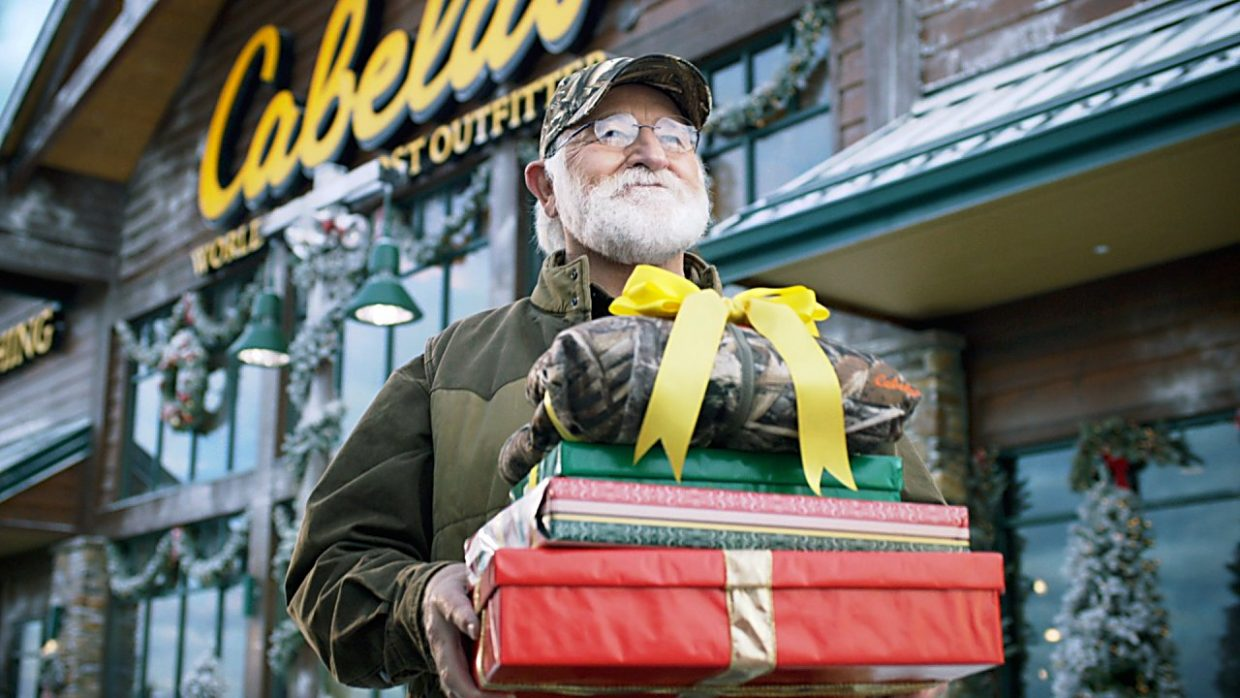 Bob Moore in a Cabela's Christmas television advertisement.
