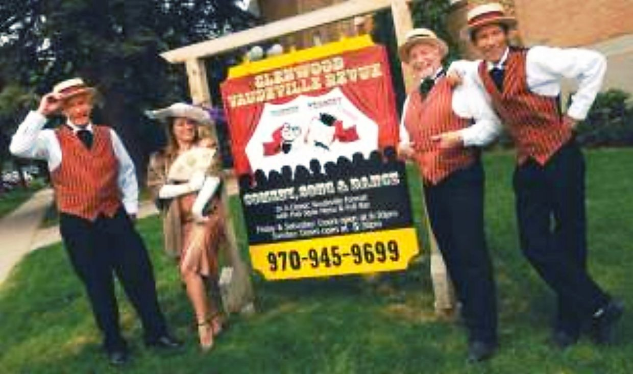Bob Moore, second from right, among the 2010 cast at the Glenwood Vaudeville Revue.