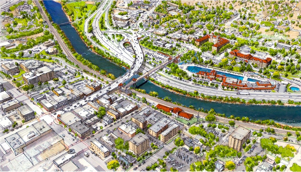 Final design renderings from the Colorado Department of Transportation Grand Avenue Bridge Project team provide a little more detail, including this aerial view looking west from Blake Ave. Final landscaping and lighting is still being designed and may vary from this depiction.