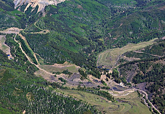 An aerial shot of Coal Basin shows the Sutey Pile