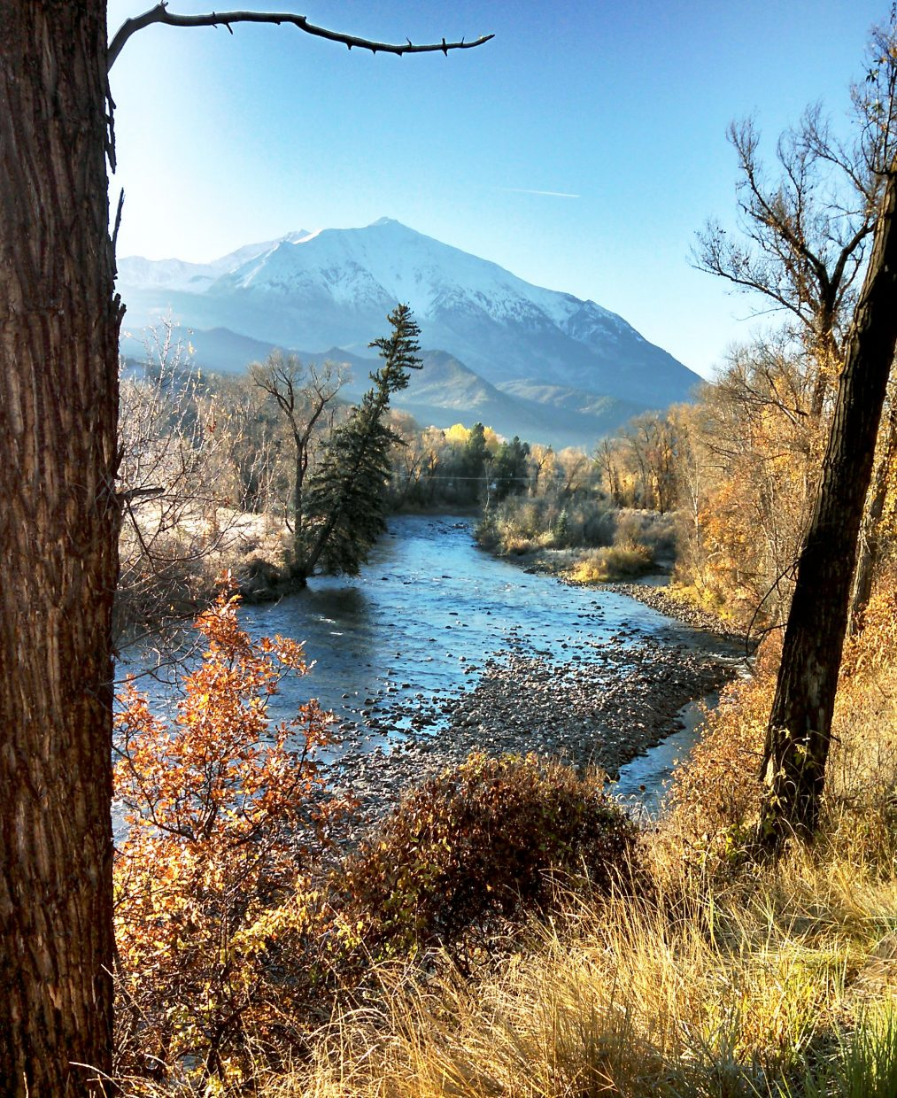 The Crystal River Valley and Mount Sopris' fresh snow made a spectacular scene Saturday morning.