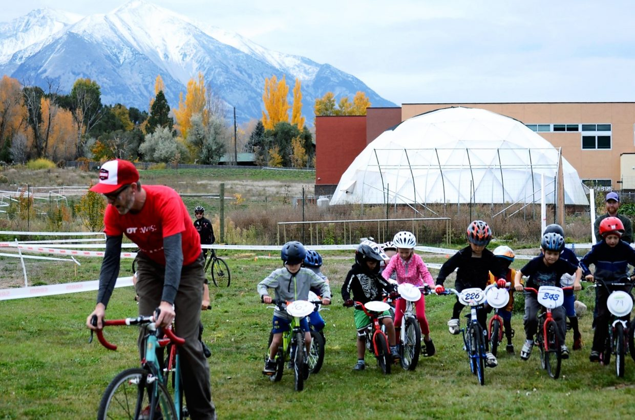 Craig Fowler leads the kids' race at one of last year's Shaka 'Cross races in Carbondale.