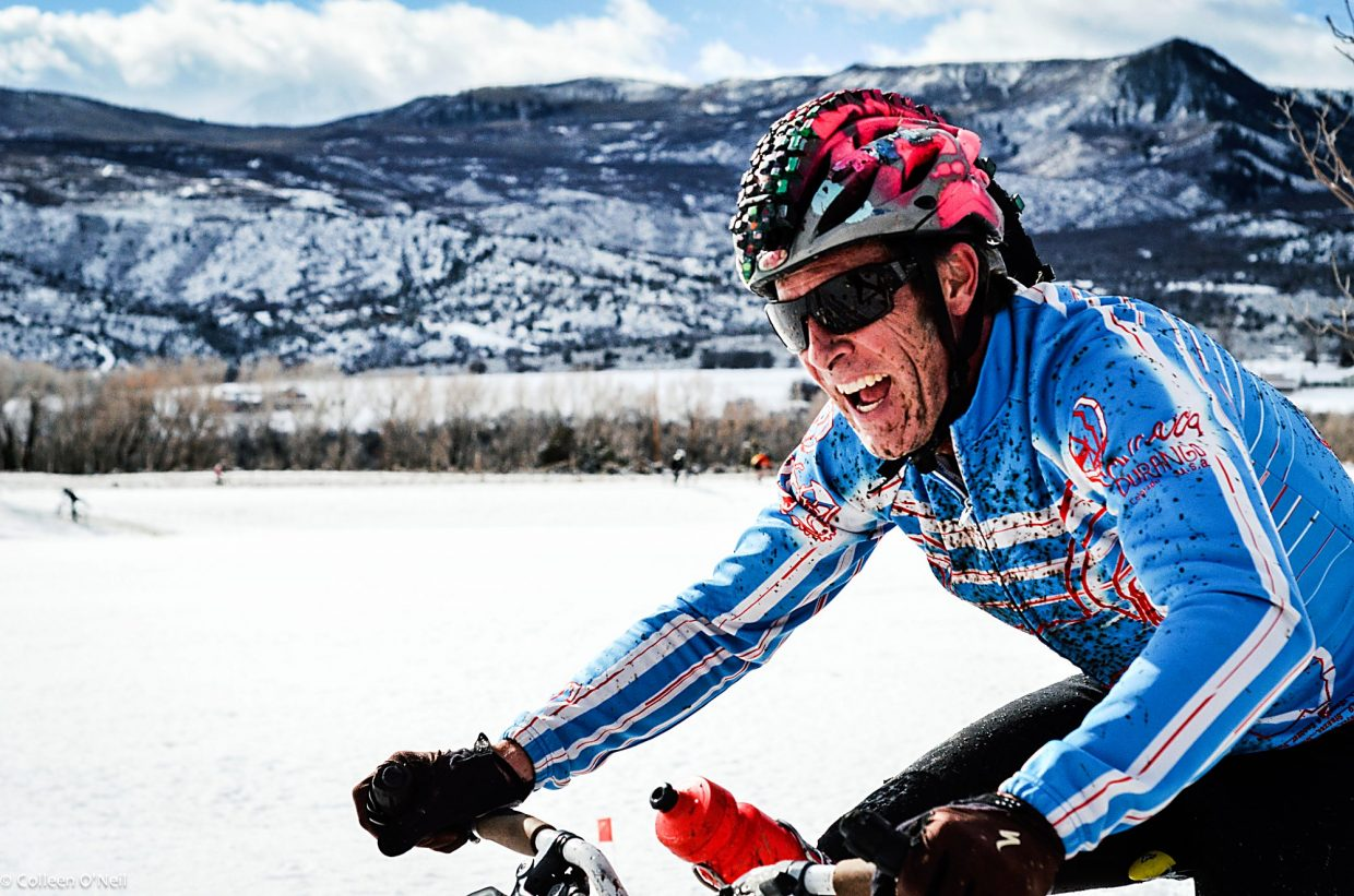 Steve Novy gets stoked in the snow during a 2013 Shaka 'Cross race.