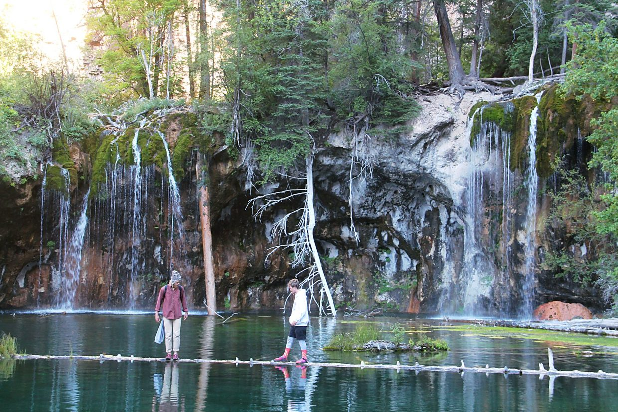 The sign at the base of the log at Hanging Lake forbids this activity, but some people don't get it.