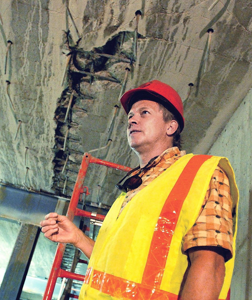 Joe Elsen explains how a crack formed in the ceiling of one of the tunnels in Glenwood Canyon a few years ago.