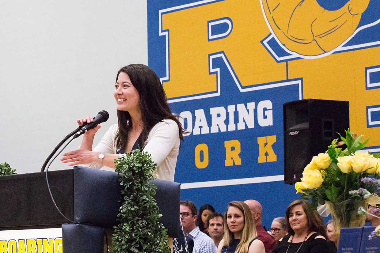 Former teacher Krystal Wu gave this year's commencement address at Roaring Fork High School in Carbondale.