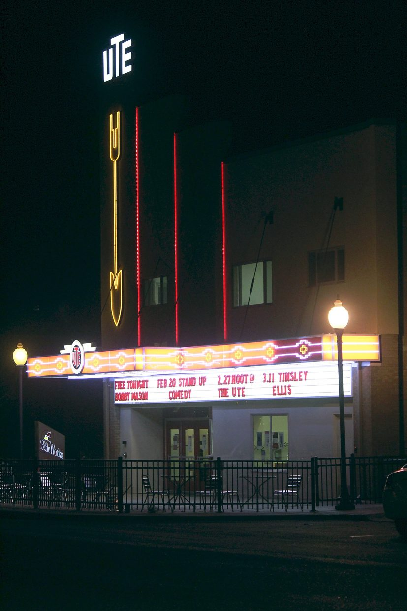 The New Ute Events Center is lit up for a free concert by Bobby Mason Friday, Feb. 19.