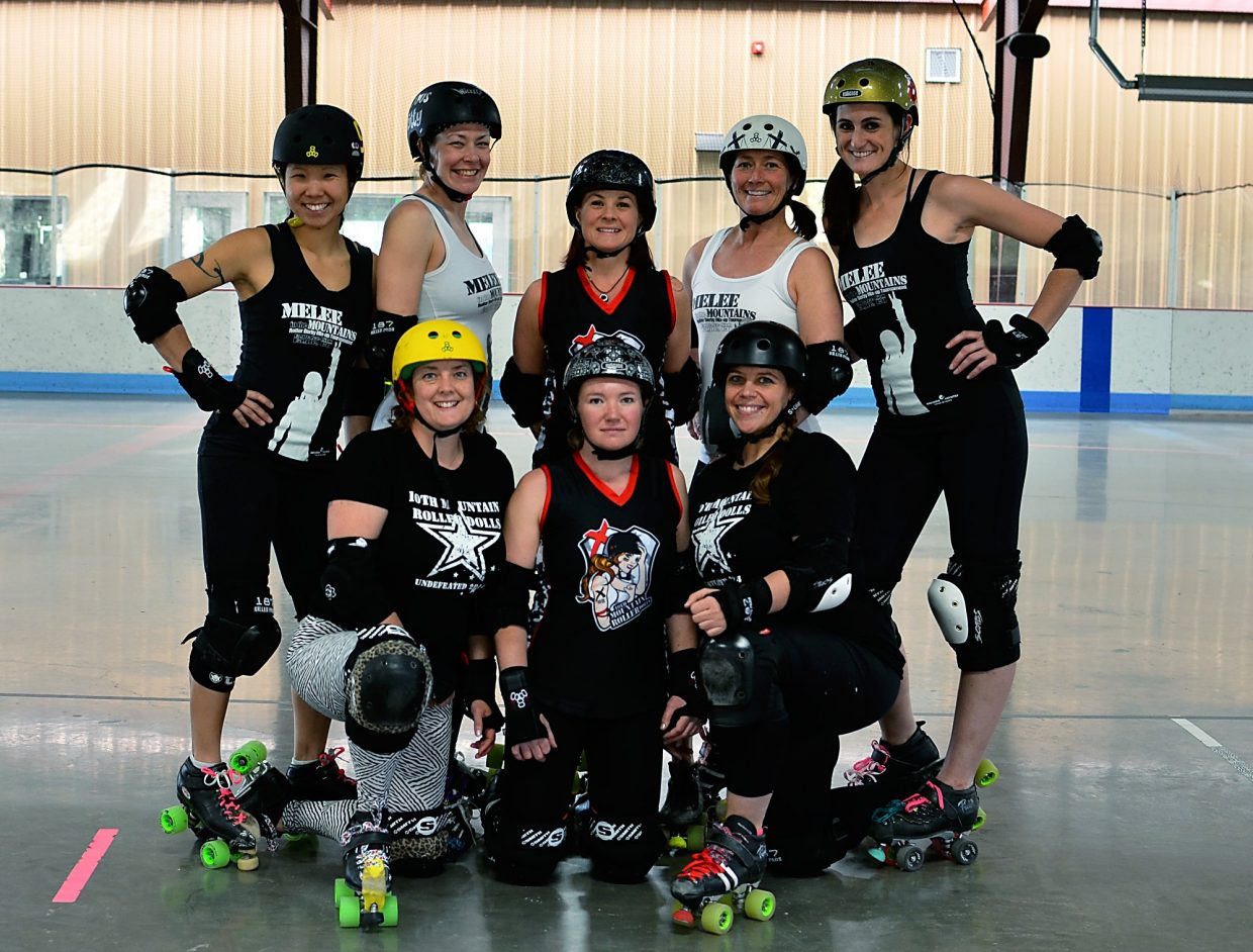 The Roaring Fork Roller Derby team. Top row (left to right): Katie McClanahan (derby name: Little Ninja), Roslyn Bernstein (Vicious Kitty), Diane Chapin (Die'an Grenade), Catherine Zaikas (Ferrol Cat), Rachel Marques (Pink FlameNgo). Bottom row (left to right) Jessica Montgomery (Lemon Crusher), Holly Beavers (Frost BiteHer), Michelle Smith (Chelle on Wheels).