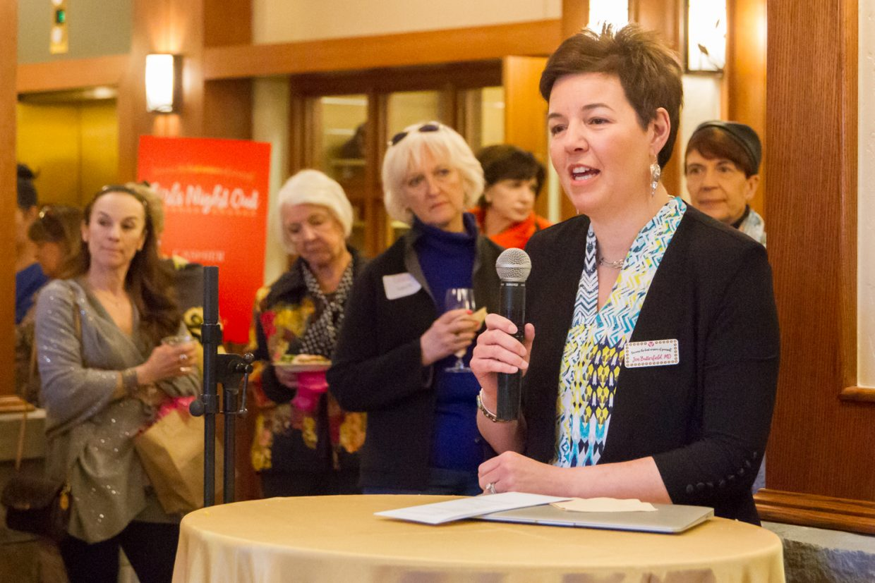 """Dr. Jennifer Butterfield spoke with over 100 guests at the Girl's Night Out reception at Valley View Hospital Friday evening. She will lead Valley View Hospital's Mount Sopris Plastic Surgery Center at Valley View, which opens March 22. """"Valley View is proud to bring to the Roaring Fork Valley the first female plastic surgeon with this level of experience,"""" said Gary Brewer, the hospital's chief executive officer. For more information or to make an appointment please visit mtsoprisplasticsurgery.org or call 970-384-7105."""