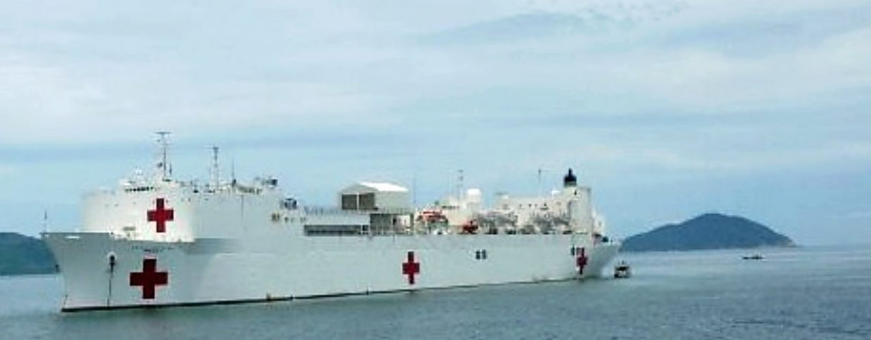 The USNS Mercy, with 17 decks, 12 operating rooms, an ICU, blood bank, pediatric ward and more floats off the Vietnam coast.