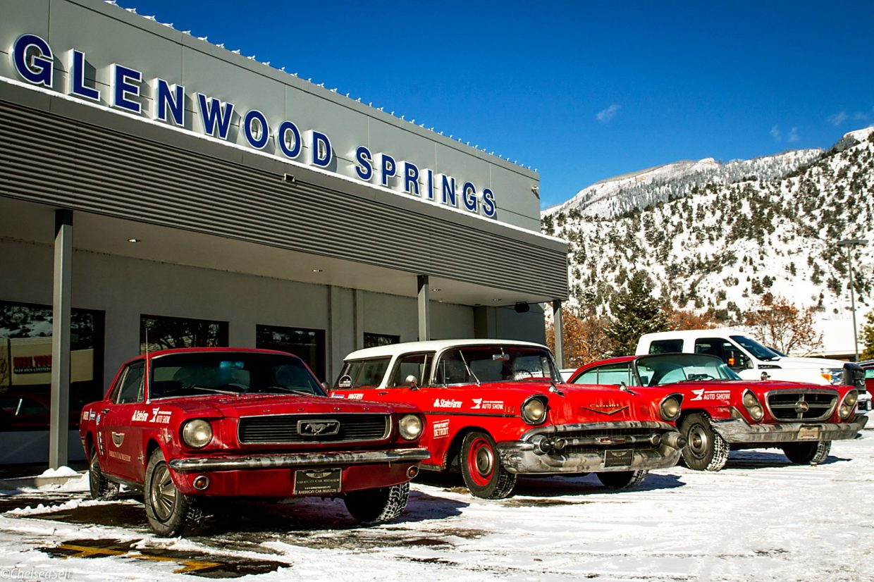 Three cars — a 1966 Ford Mustang, 1957 Chevrolet Nomad and 1961 Chrysler 300G — stopped Thursday at Glenwood Springs Ford on their nearly 3,000-mile journey to their birthplace in Detroit. The vehicles are now part of the collection at the LeMay — America's Car Museum, in Tacoma, Washington. They are going to Detroit for the North American International Auto Show in mid-January. The cars will be welcomed back to the Motor City on Jan. 8 with a drive down Woodward Avenue, the nation's first paved road, and a celebratory party in Detroit's Cadillac Square, the former headquarters of General Motors.