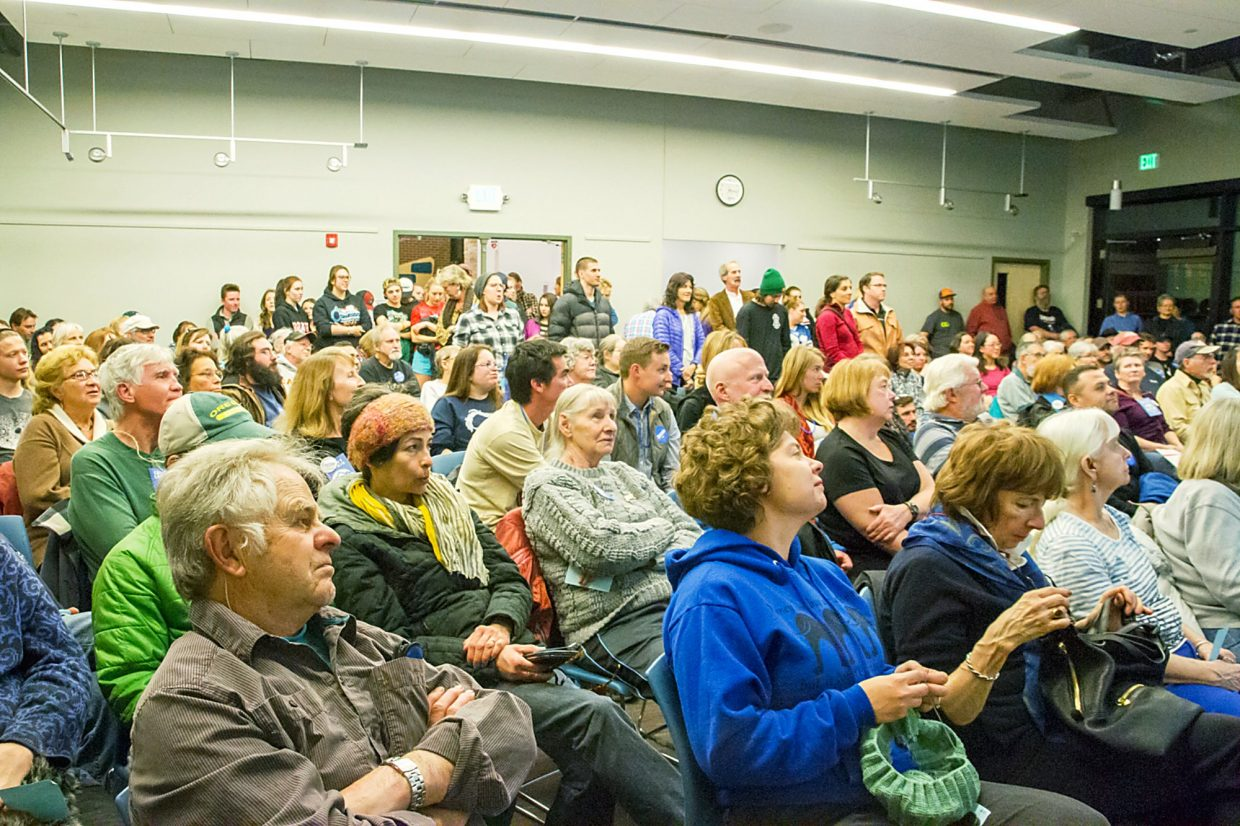 It was a full crowd of Bernie Sanders and Hillary Clinton supporters Tuesday night at the Garfield County Library.