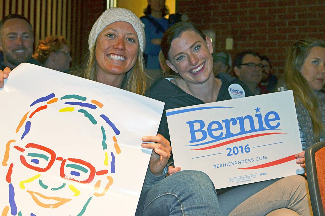 Lindsay Gorley and Brianne Newcomb were feeling the Bern at the Carbondale Democratic caucus Tuesday night.