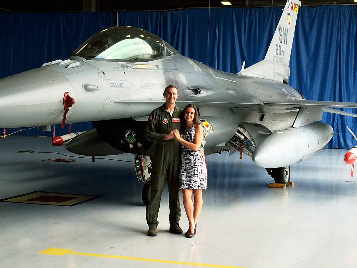 Capt. William DuBois and his wife, Ashley, at Shaw Air Force Base in South Carolina.
