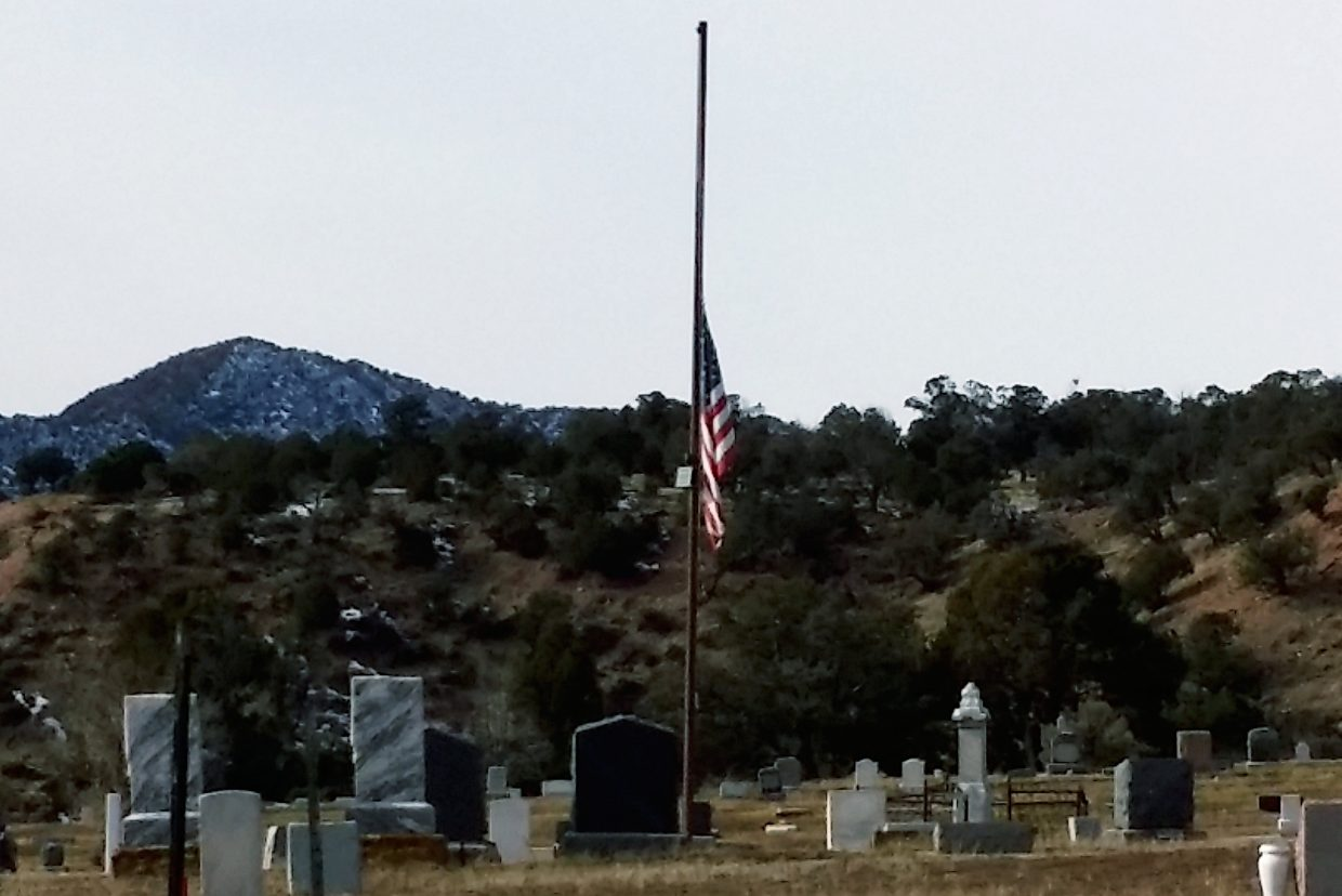 The flag at New Castle's cemetery was lowered to half-staff Tuesday to honor F-16 pilot Will DuBois.