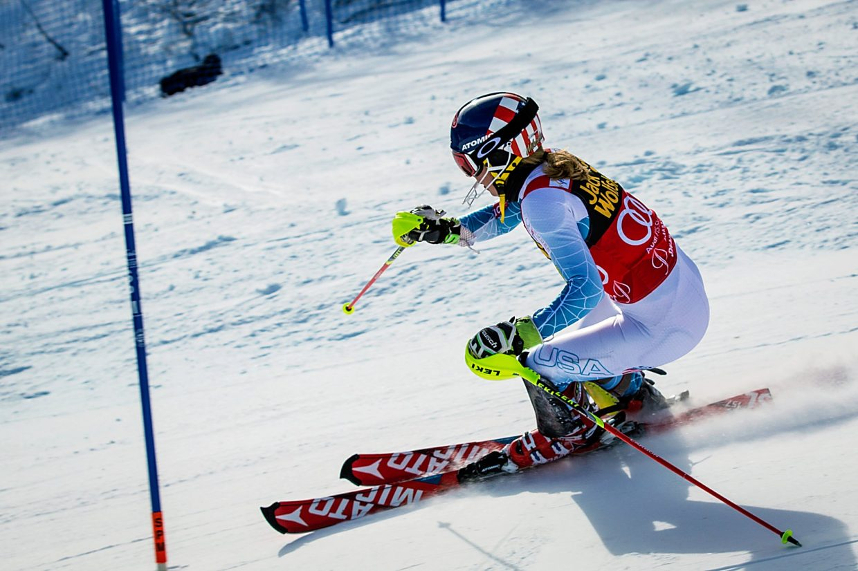 Mikaela Shiffrin works down the course during Sunday's World Cup slalom on Aspen Mountain. Shiffrin posted the fastest slalom times in all four runs Saturday and Sunday.