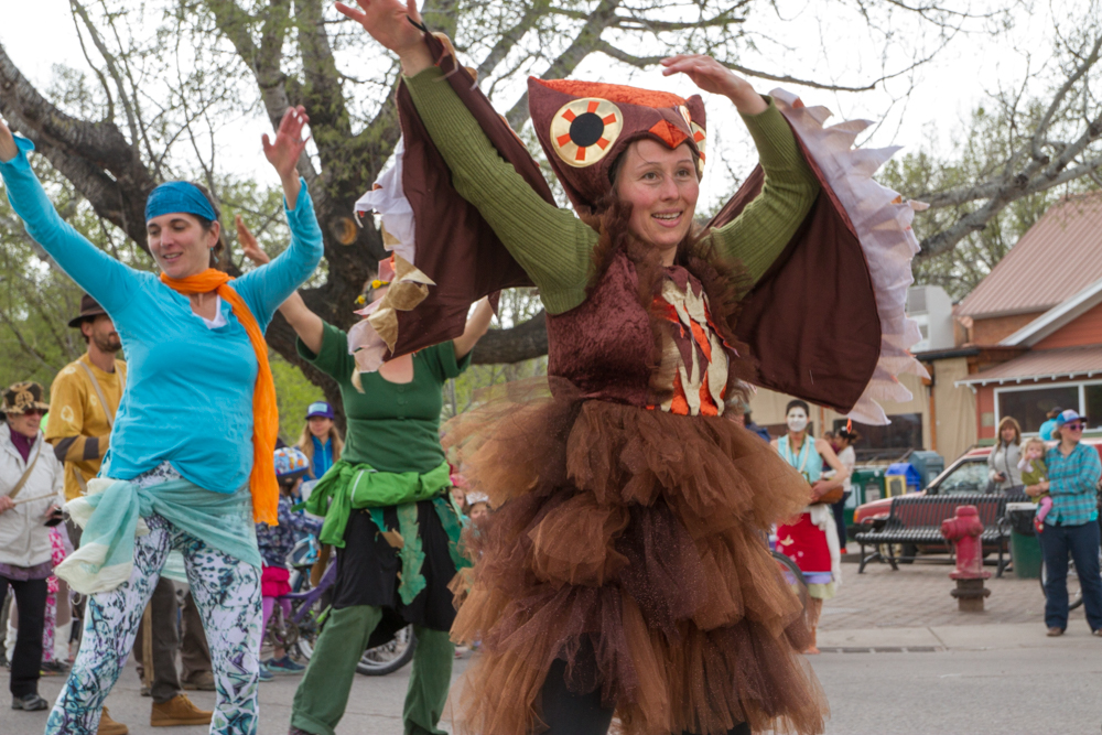 Jessica Adams helped lead the parade along with other members of Carbondale's African Dance Class.