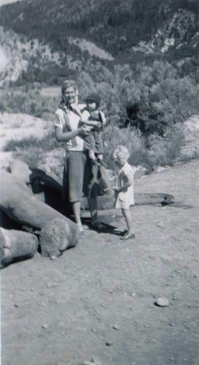 Geri Jewell holding Joe Simms, with Shirley Simms standing by the elephant.
