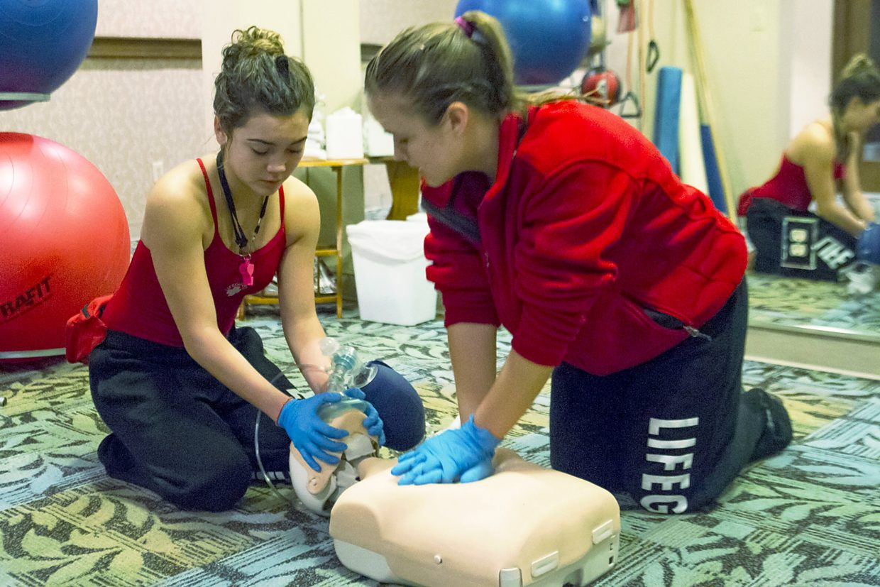 At this station lifeguards practiced fainting procedures and administering oxygen.
