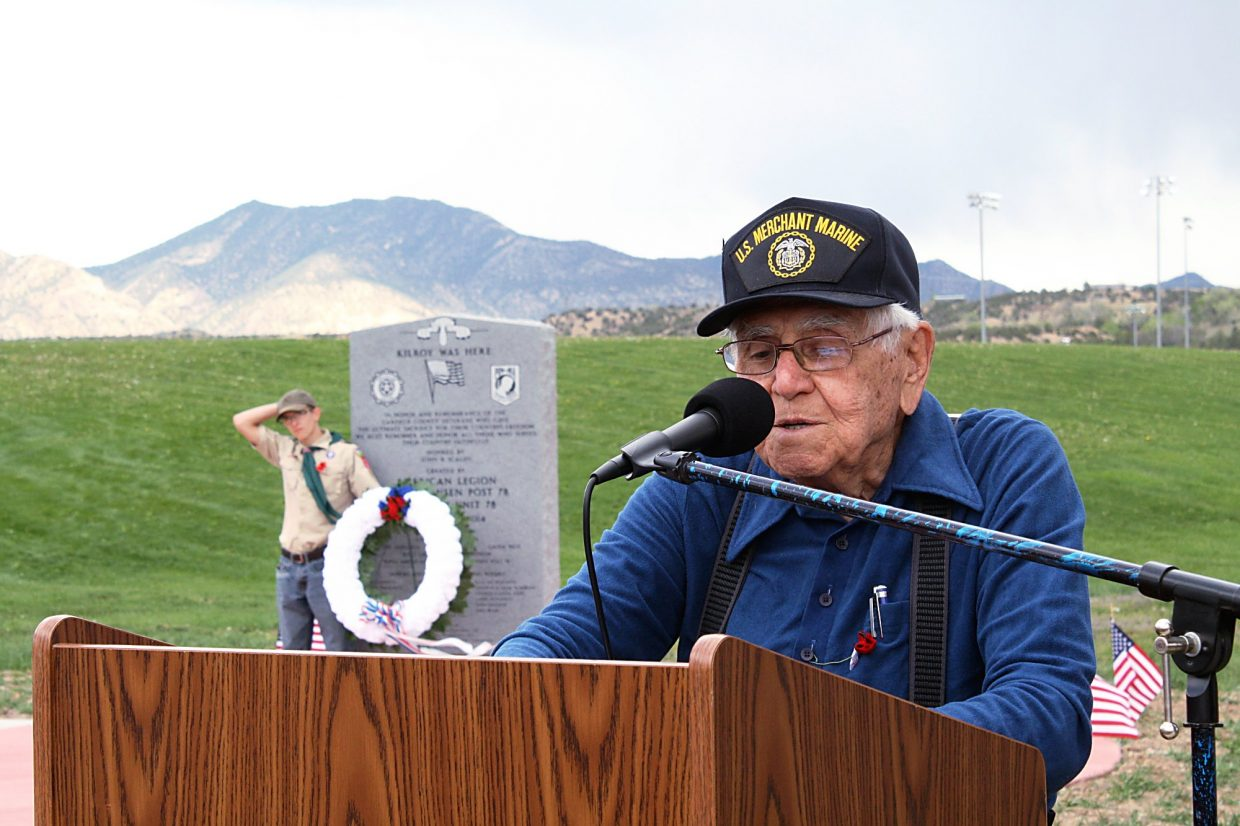 John Scalzo speaks at a ceremony May 3 dedicating a new stone with the names of Garfield County veterans killed in action. Scalzo spent two years researching the names and raising funds for the new addition to the Western Garfield County Veterans Memorial.