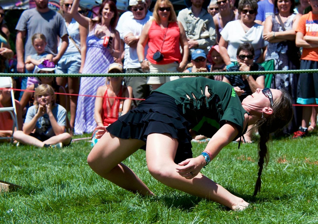 Brandi Parsley, from El Jebel, wins the limbo contest at Mountain Fair on Saturday afternoon.