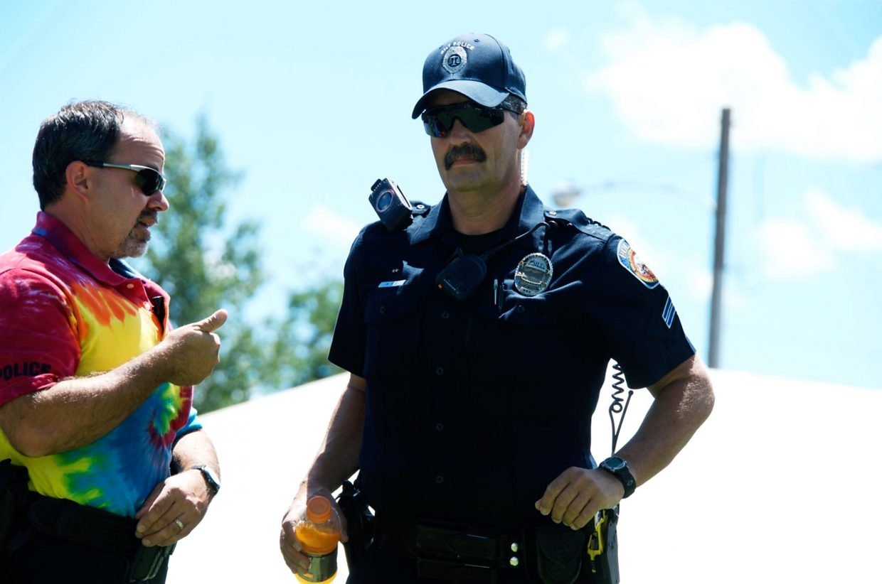 Members of the Carbondale police department was decked out in tie-dye in the spirit of Mountain Fair.