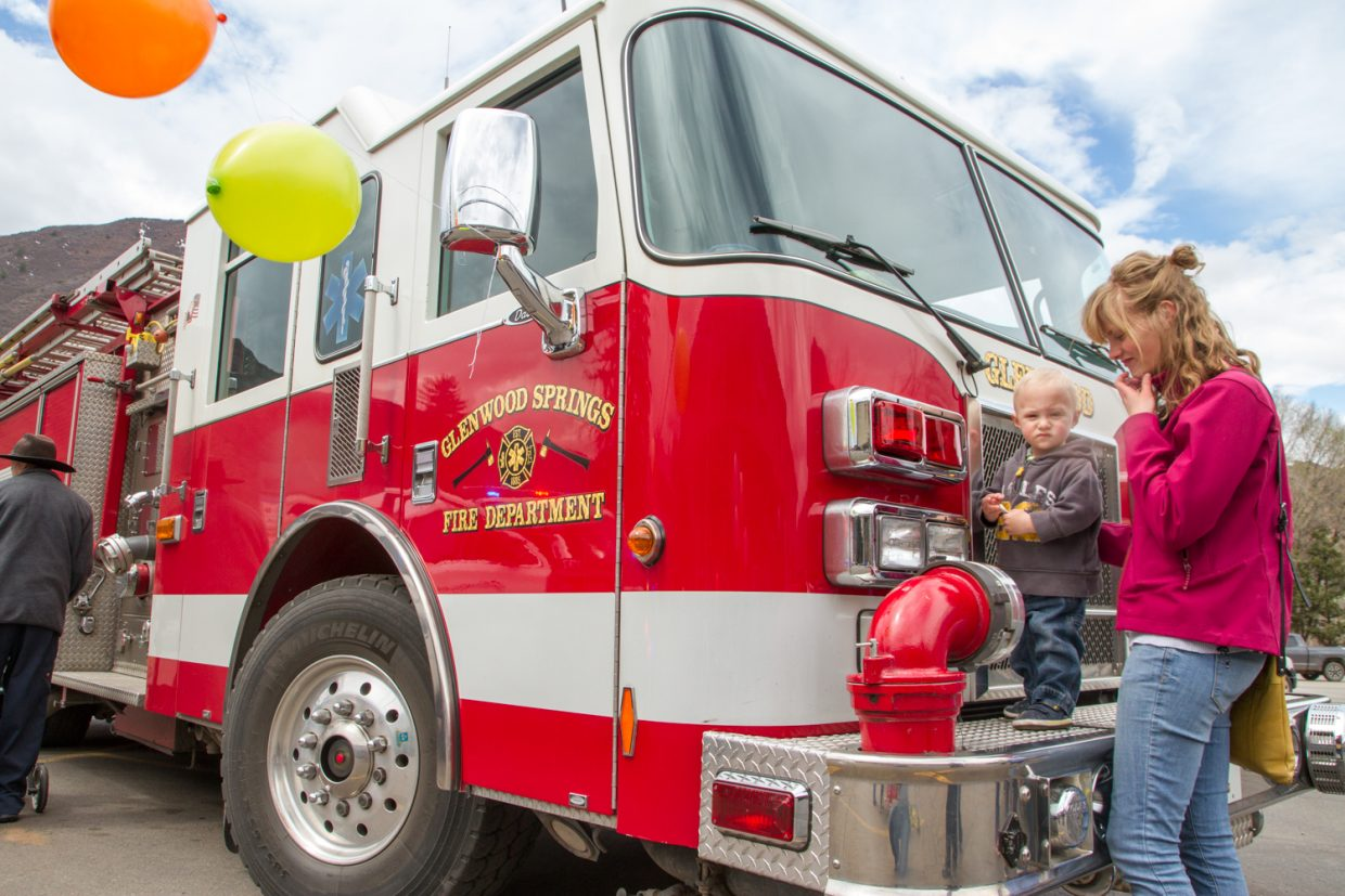 One year old Wesley Nikkel checked out the Glenwood Springs Fire truck Saturday afternoon outside of Rite-Aid.