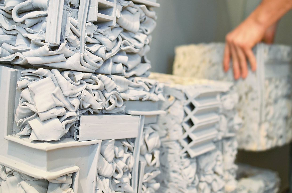 These blocks of ribboned clay represent the changing, shifting world in Eames' work.