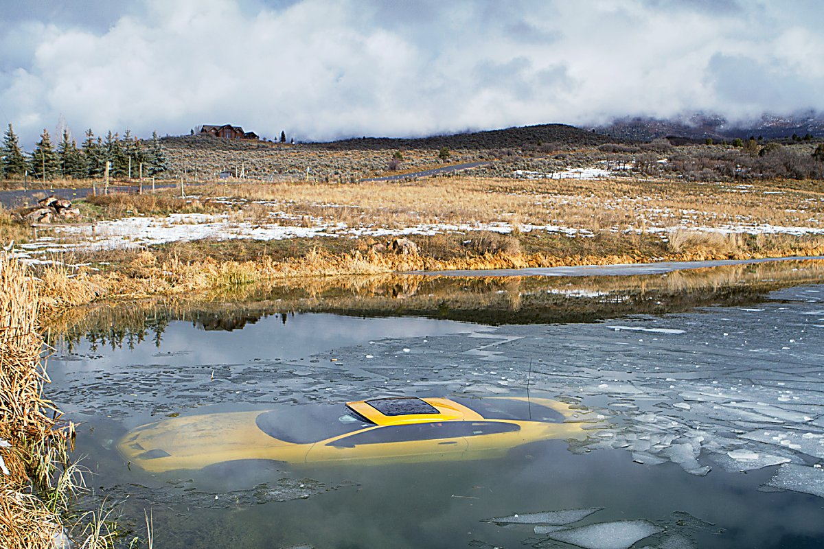 Here's another view of the car that ended up in a pond in an accident Thursday on County Road 119 near Spring Valley.