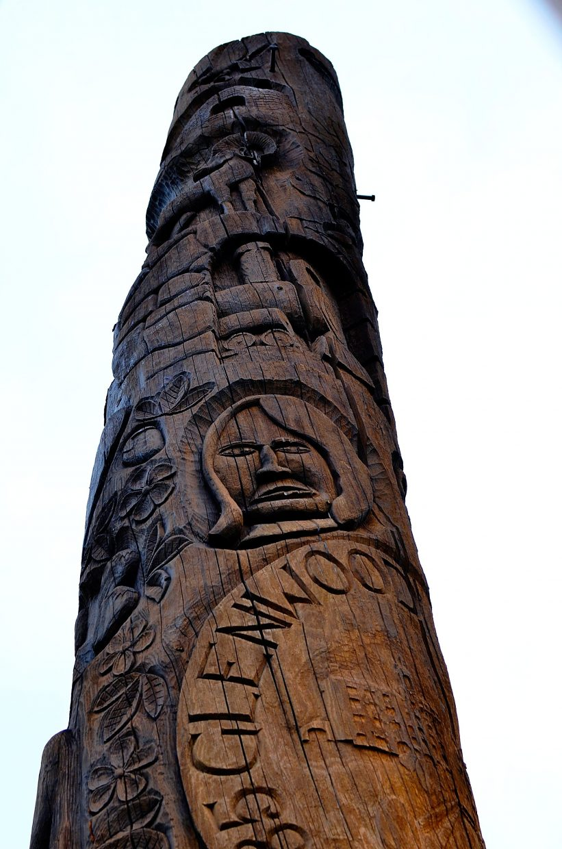 The Community Centennial Pole has imagery relating to Glenwood Springs' history