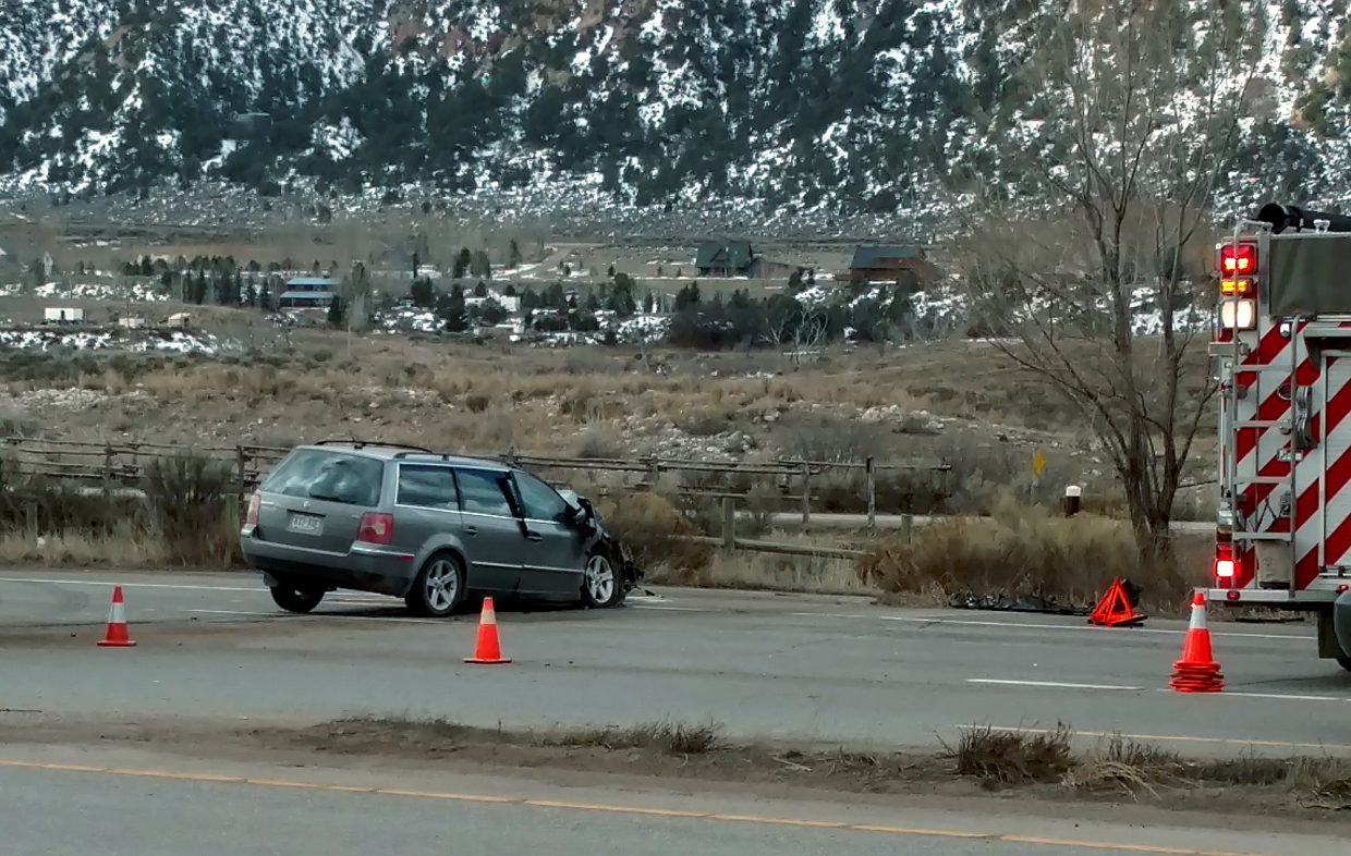 This hatchback was seriously damaged in an accident around 7:30 a.m. Wednesday on Highway 82 at Cattle Creek. The car collided with a rock truck. The Colorado State Patrol said the accident caused only minor injuries, with no one taken to the hospital.