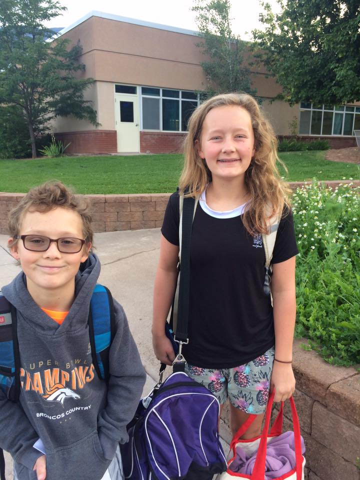 Nicholas and Jessica Smith on their first day of fifth and seventh grade at Basalt Middle School.