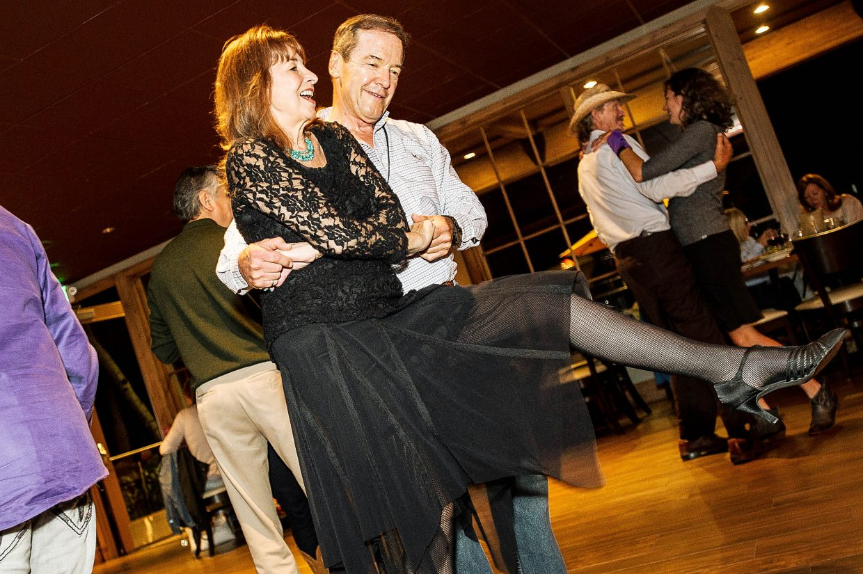 A couple gets into West Coast Swing dancing last week at the Inn at Aspen.