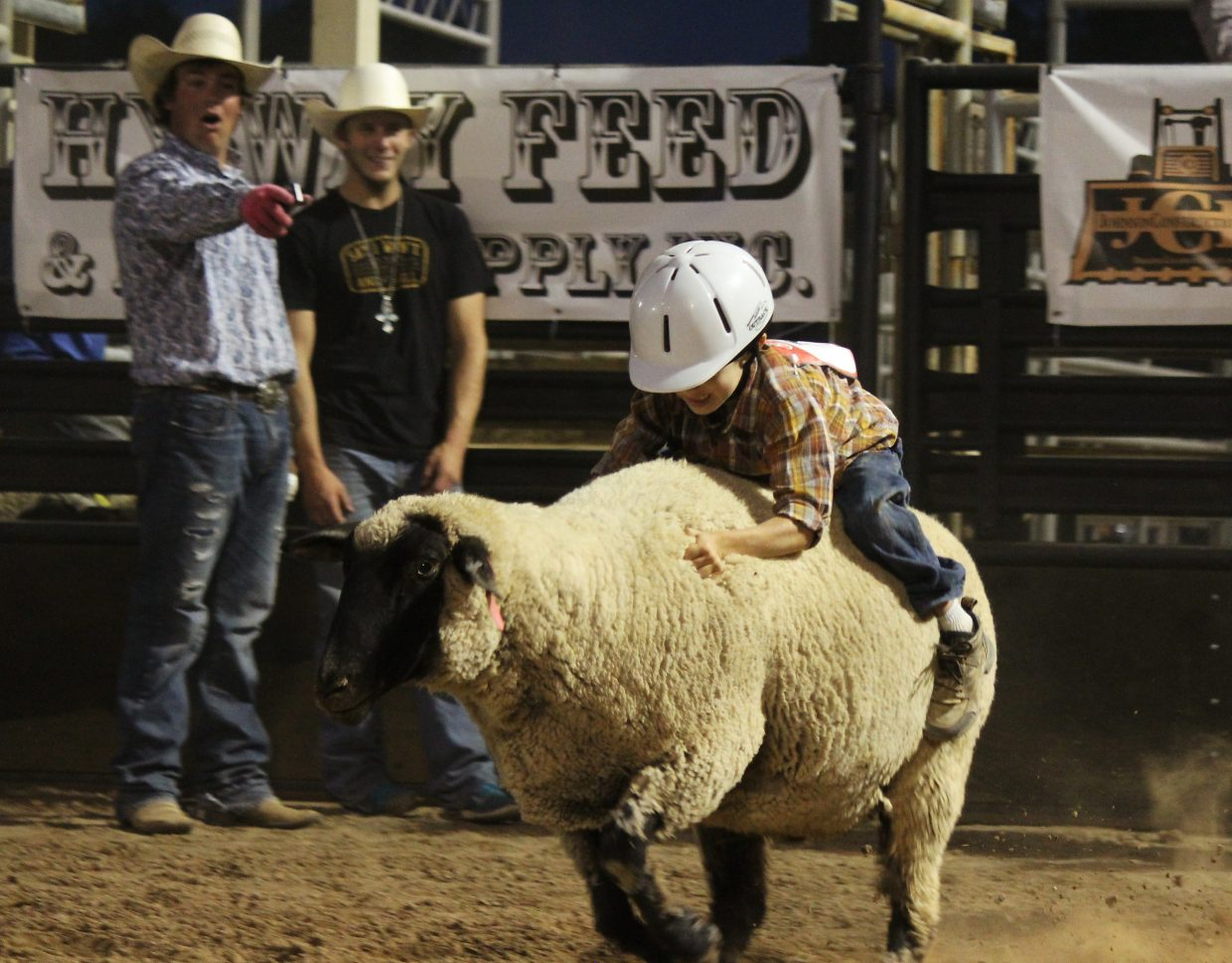 Aedan Dwire holds on during the second round of mutton bustin' during family rodeo night at the 2016 Garfield County Fair and Rodeo in Rifle Monday.