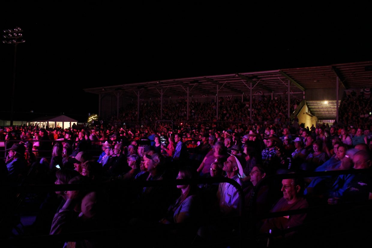 The crowd gazes as Josh Turner performs at the 2016 Garfield County Fair and Rodeo Friday night.