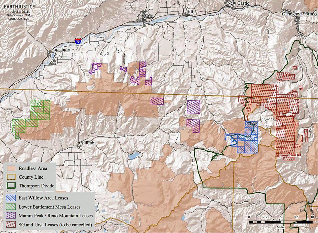 A map provided by the Wilderness Workshop shows the Thompson Divide area on the far right in red where previously issued leases would be canceled under a BLM plan, and the areas farther to the west shaded in blue, purple and green where leases would remain.