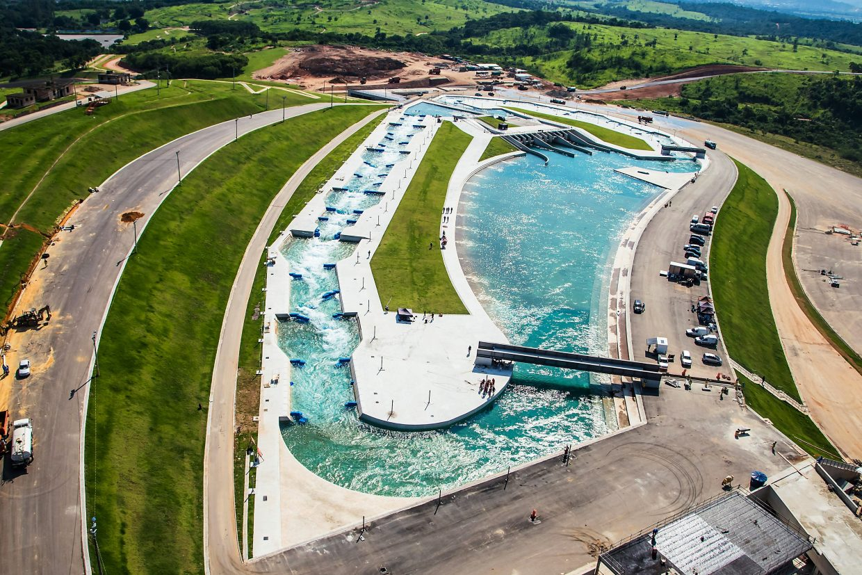 An overhead shot of the Rio Summer Olympics' whitewater park, built by Glenwood-based Whitewater Parks International, LLC.