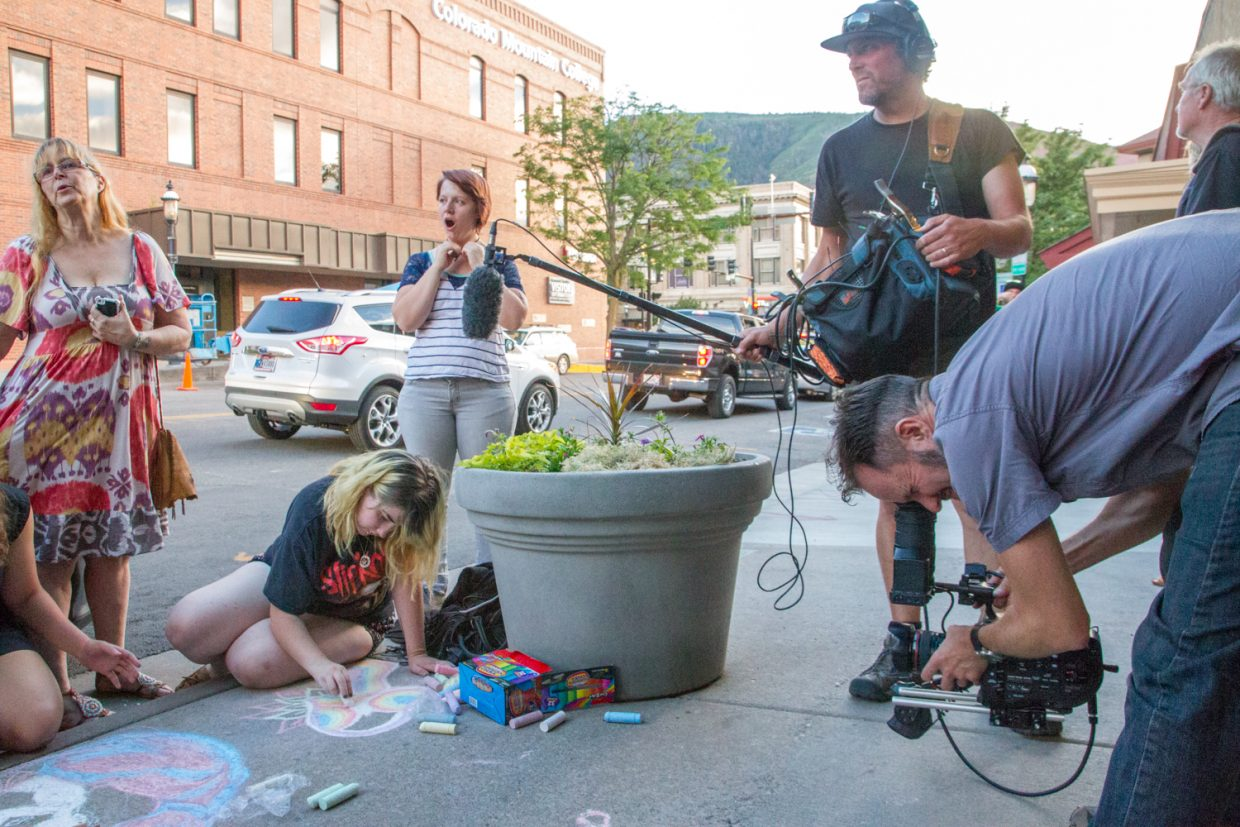Students from Yampah Mountain High School decorated the sidewalks with chalk art during the first Glenapalooza event last month.