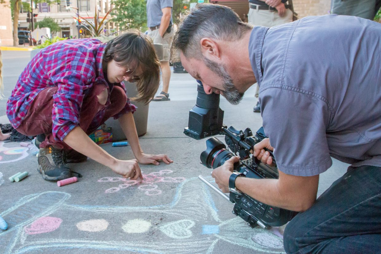 Yampah Mountain High School Junior Tibet Boyer is filmed in downtown Glenwood Springs July 8 for an upcoming documentary by Emmy Award-winning filmmaker Lee Hirsch, following Yampah and other schools across the nation in their effort to win a $10 million XQ Super School grant.