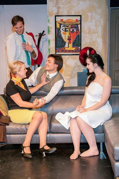 """In Sopris Theatre Company's production of the French comedy """"Boeing Boeing,"""" playboy Bernard and his friend Robert try to explain when two of Bernard's fiancees are both in his apartment. Left to right are Eric Lamb as Bernard, Paige Ulmer as Gretchen, Scott Elmore as Robert and Shelby Lathrop as Gabriella. The play runs Oct. 21-30 at Colorado Mountain College Spring Valley. Photo Scot Gerdes"""