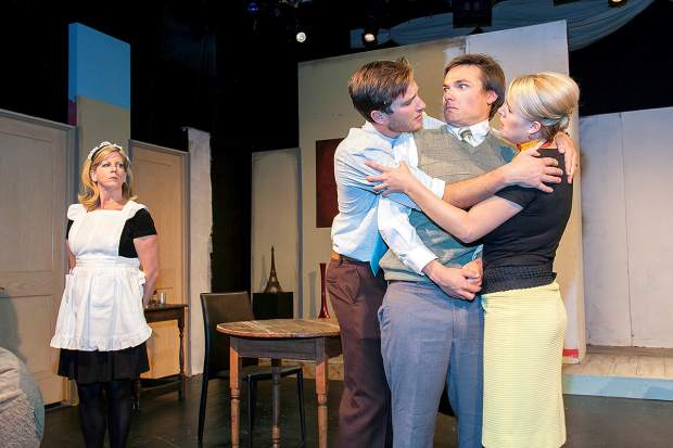 """Among the actors featured in Sopris Theatre Company's production of the French comedy """"Boeing Boeing"""" are, left to right, Peggy Wilkie as Berthe, Eric Lamb as Bernard, Scott Elmore as Robert and Paige Ulmer as Gretchen. The play runs Oct. 21-30 at Colorado Mountain College Spring Valley. Photo Scot Gerdes"""