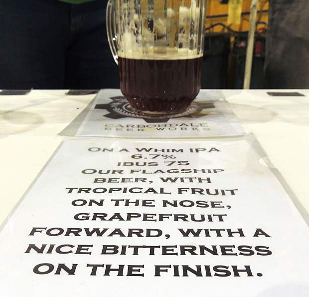 Small but mighty, Carbondale Beer Works poured three brews at the GABF — On a Whim (pictured here), Citizen Blonde and Rye Big Daddy Ryeder.