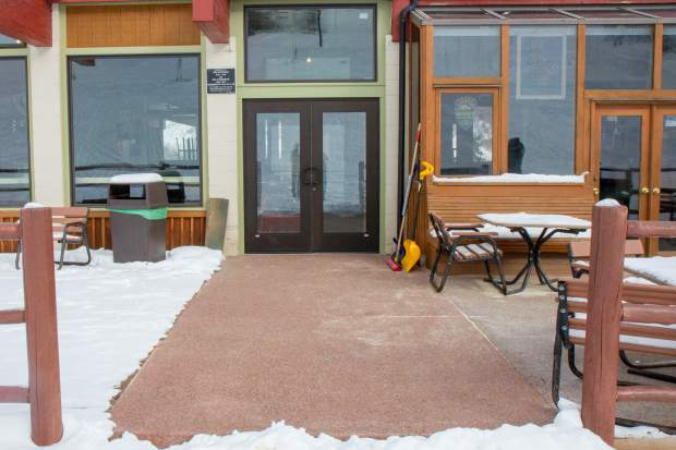 The new heated walkway and doors to the entry of the lodge at Sunlight Mountain Resort.