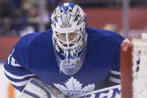 Toronto Maple Leafs goaltender Antoine Bibeau is pictured during first period NHL hockey action against the Colorado Avalanche in Toronto, on Sunday, Dec. 11, 2016. (Chris Young/The Canadian Press via AP)