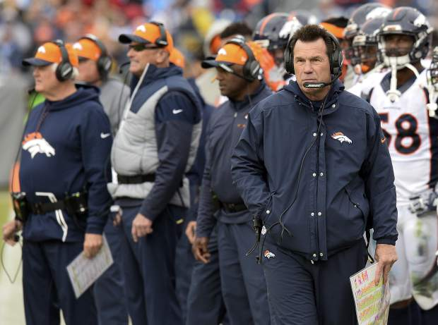 Denver Broncos head coach Gary Kubiak, front right, watches from the sideline in the first half of an NFL football game against the Tennessee Titans Sunday, Dec. 11, 2016, in Nashville, Tenn. (AP Photo/Mark Zaleski)