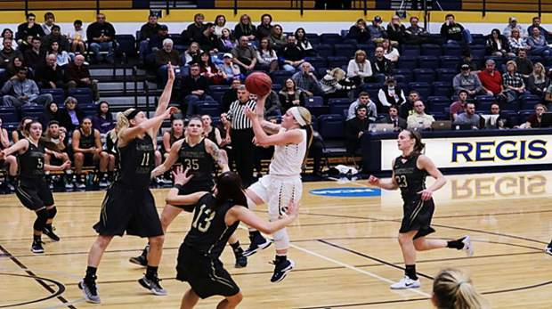 In her first career start with Regis University, Chante Church scored a career-high 40 points, setting a school record in the process while cracking the top 10 in all-time single game performances by a girl's basketball player in Rocky Mountain Athletic Conference history.