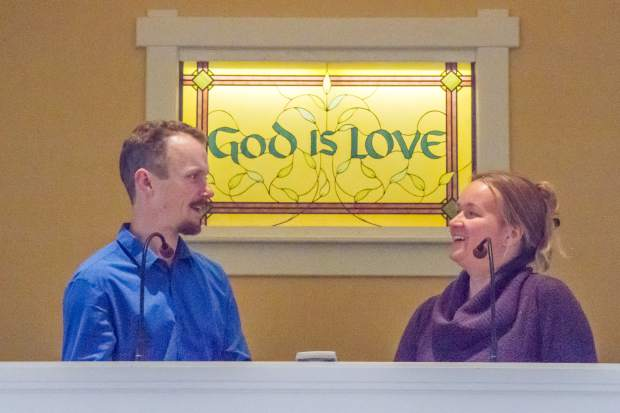 Joel and Lili Belmont read passages together during an afternoon gathering at the Christian Science Church in Glenwood Springs.