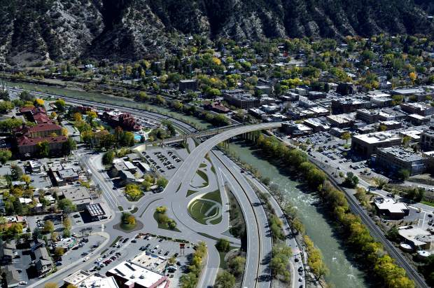 A rendering of the planned Highway 82/Grand Avenue Bridge shows the new alignment from downtown Glenwood Springs, right, curving toward the intersection of Sixth and Laurel and the Interstate 70 Exit 116.