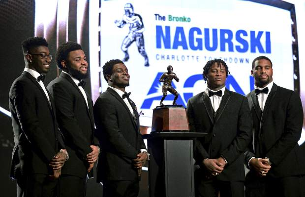 From the left; Florida State defensive back Tarvarus McFadden, Clemson defensive tackle Christian Wilkins, Michigan linebacker Jabrill Peppers, Alabama linebacker Reuben Foster and Alabama defensive end Jonathan Allen are all finalists for the 2016 Bronko Nagurski Trophy, presented annually to the nation's top NCAA defensive football player. The awards ceremony is being held at the Charlotte Convention Center in Charlotte, NC on Monday, Dec. 5, 2016. (Jeff Siner/The Charlotte Observer via AP)